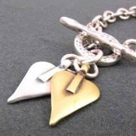 danon silver and bronze heart charm bracelet